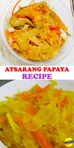 Recipe (Pickled Green Papaya) The Filipino version of Atsara Recipe equivalent to the pickle relish, though we enjoyed it in a different way.The Filipino version of Atsara Recipe equivalent to the pickle relish, though we enjoyed it in a different way. Filipino Appetizers, Filipino Dishes, Filipino Recipes, Asian Recipes, Filipino Food, Ethnic Recipes, Filipino Vegetable Recipes, Philippines