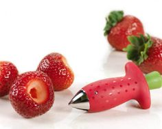 CoolestKitchens.com - strawberry huller. A gadget to stop that fiddly job.