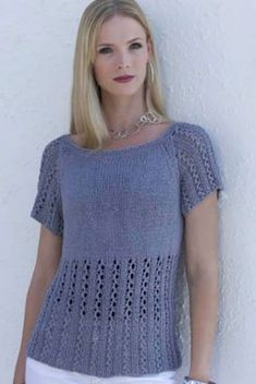 Short-Sleeved Pullover Lace Free Knitting Pattern