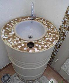Metal Drums Upcycled Sink