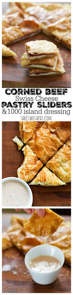 Spicy Corned Beef and Creamy Swiss Cheese are nestled in flaky, buttery puff pastry. Dipped in homemade 1000 island dressing is the perfect way to serve these pastry sliders at your next party! Corned Beef and Swiss Pastry Sliders Recipe | http://TakeTwoTapas.com
