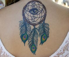 90 Inspirational Dream Catcher Tattoo Designs Done Right Peacock Feather Tattoo, Feather Tattoos, Peacock Feathers, Tattoo Girls, Back Tattoo, I Tattoo, Dreamcatcher Tattoo Meaning, Dream Catcher Tattoo Design, Wicked Tattoos