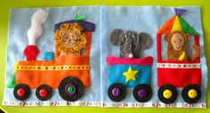 Circus Train Quiet Book Page The animals are fingerpuppets. I love this hole site where there are free patterns of the quiet book pages!!!