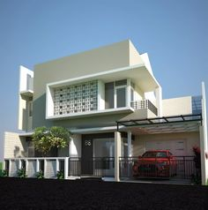 Contoh Rumah Minimalis 2 Lantai Home Fashion, Furniture Ideas, Facade, Villa, House Ideas, Houses, Construction, Mansions, Architecture