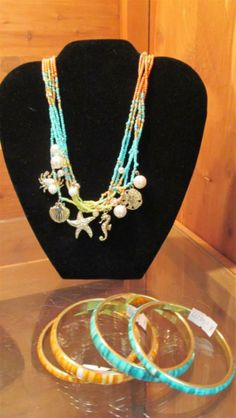 Seaside inspired necklace with earrings & co-ordinating bracelets