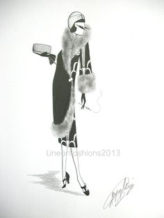Art Deco fashion illustration 1920s coat by LinearFashions, $45.00.