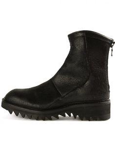 JULIUS - Back-Zip Leather Boot - 477FWM4-R BLACK - H. Lorenzo