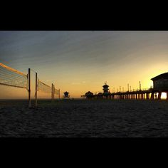 Huntington Beach sunset after lots of beach volleyball ♡ Lovee it
