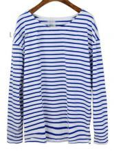 Blue Striped Vintage Loose Cotton T-Shirt $31.84