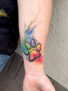 Trendy Tattoos, Mini Tattoos, Body Art Tattoos, Small Tattoos, Sleeve Tattoos, Paw Print Tattoos, Memory Tattoos, Dog Memorial Tattoos, Rainbow Tattoos