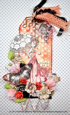 My Happy Scrap Space: Prima Lyric Tag       via - happyscrapspace.blogspot.com              Wendy Schultz - Prima Doll Stamps.