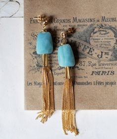 light blue amazonite knot earrings €18,00