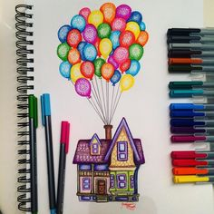 Carl's house (Drawing by Kristina_Illustrations @Instagram) #Up | Awesome Drawings, Easy Drawings Sketches, Graph Paper Drawings, Tumblr Art Drawings, Easy Disney Drawings, Creative Sketches, Amazing Sketches, Pretty Drawings, Marker Drawings Office Supplies, Notebook, Desk Supplies, The Notebook