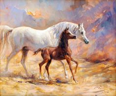 Arabian horse painting by Ali Al Mimar - Oil on canvas
