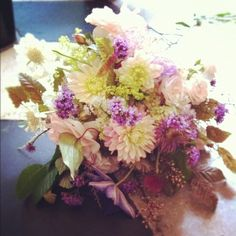 Dahilas, verbena ,clematis ,alchemilla mollis,foliage hornbeam leaves weddign bouquet   www.thegardenpowerscourt.ie
