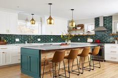 Handmade Ceramic Kitchen Tile Projects by Mercury Mosaics Teal Kitchen, Kitchen Tiles, Green Kitchen Island, Warm Kitchen Colors, Tropical Kitchen, Green Kitchen Cabinets, Kitchen Sink, Cuisines Design, Küchen Design