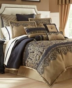 Closeout! Waterford Bannon King Comforter Set - Gold