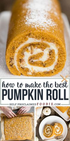 This delicious Pumpkin Roll recipe combines moist pumpkin spice cake and a secret ingredient cream cheese filling. You'll love my easy no-mess rolling tips! recipes {The BEST Classic} Pumpkin Roll Recipe Pumpkin Spice Cake, Pumpkin Dessert, Pumpkin Carving, Best Pumpkin, Cake Roll Recipes, Dessert Recipes, Delicious Desserts, Dinner Recipes, Thanksgiving Desserts Easy