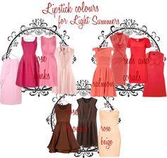 Light Summer: Lipstick colours for Light Summer http://redandlipstick.blogspot.se/2013/02/light-summer-palette-best-lipstick.html