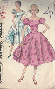"1955 Vintage Sewing Pattern DRESS B33"" (R604) Simplicity 1190"