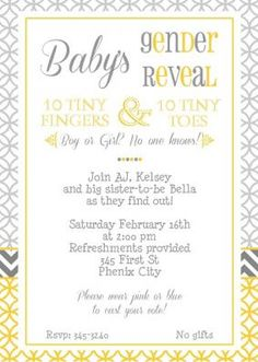 Bubble gum bubble gum gender reveal ballot card gender reveal modern sunny yellow gray babys gender reveal party invitation with chevron stripes comes with the tiny fingers tiny toes wording stopboris Choice Image