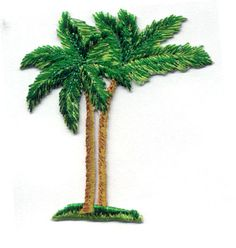PALM TREES - TROPICAL TREES EMBROIDERED IRON ON APPLIQUE PATCH