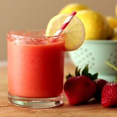 Frozen Strawberry Lemonade Fresh strawberries and lemon are such a refreshing combo! Cool down with this Frozen Strawberry Lemonade.Recipe with video instructions: How to make Frozen Strawberry Lemonade Ingredients: ¼ cup coarse sugar, Red food coloring, Smoothie Drinks, Healthy Smoothies, Healthy Drinks, Smoothies Detox, Fruit Smoothies, Healthy Snacks, Tropical Smoothie Recipes, Yummy Smoothie Recipes, Dinner Healthy