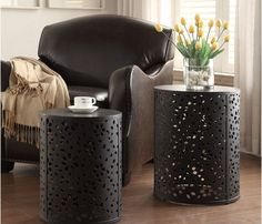 Decorative tables for living room - 2-piece round metal accent tables | Decolover.net