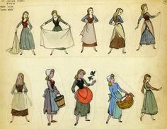 cinderella character design...I think it is interesting the top row looks like belle and the bottom looks like alice