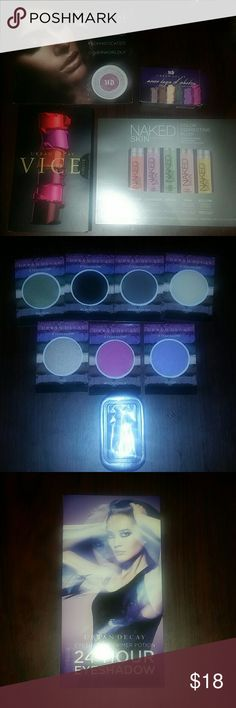 Urban Decay Sample Bundle 1. UD vice lipstick sample card. You get to try 24 of their newest lip colors.  2. Naked Skin color correcting fluid sample card with all 5 color correcting fluids to try. 3. UD Moondust Eyeshadow Sample Card. You will get to try moonstone and desperation plus there's a small shadow primer to use with the shadows. 4. UD 34 hour eyeshadow primer card with Eden, Minor sin, Anti-aging and original formulas.  5. UD 7 days of Shadow. You will receive 7 sample shadow…