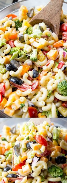 This Rainbow Macaroni Salad from Real Housemoms is a delicious pasta salad studded with rainbow colored veggies! It makes a fun and delicious side for summer barbecues, potlucks, and parties!