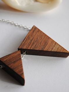 She'll love wearing this pretty wood necklace. Bliss in a Tea Cup Triangle No. 5, $50, Etsy.com
