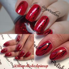 Cracked red nails with red glitter
