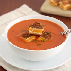 Tracey's Culinary Adventures: Creamless Creamy Tomato Soup with Grilled Cheese Croutons