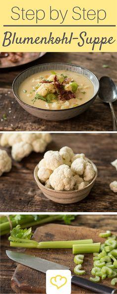 Ein köstliches Rezept für Blumenkohl-Suppe mit knusprigen Speck