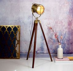 Nautical Gold Brass Standing Floor Tripod Lamp - table & floor lamps