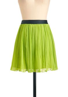 A fine lime skirt | ModCloth | green accordion pleats and vegan faux leather waistband of black