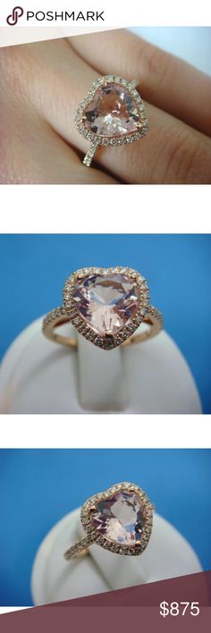 Gorgeous 3 carat 14k diamond&morganite ring Gorgeous 3 carat 14k rose gold  diamond&morganite ring! Comes with appraisal! High quality! Morganite is 2.5 carats with 0.50 carats of diamonds! Jewelry Rings