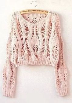 "Diy Crafts - soywoolly-cicamejra: "" Pink Hollow-out Collarless Wrap Short Synthetic Fiber Pullover "" Summer Knitting, Hand Knitting, Cropped Sweater, Pullover Sweaters, Pink Sweater, Diy Kleidung, Diy Mode, Knit Fashion, Pulls"