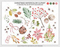 Watercolor Clipart, Christmas Watercolor Clip Art, Winter Clipart, Digital Watercolor Clipart, Watercolor Christmas, Holiday Watercolor Art    •