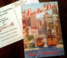 Vintage San Francisco Postcard Save the Date by shadowboxerink, $1.95