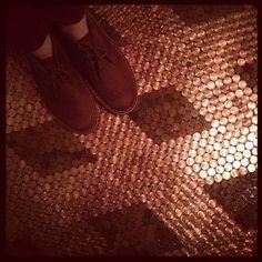 pennied floors at urban brew and bbq - st. petersburg, fl
