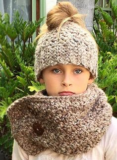 a13ddb6fb8a Messy Bun Hat Scarf Set - Hat Neck Warmer - Women s Hat Cowl - Girl s Hat  Neck Warm - Gifts for Women - Winterwear - Chunky Messy Bun Hat