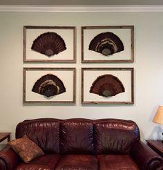 """Civilized"" turkey fans. Taxidermy Decor, Taxidermy Display, Bird Taxidermy, Turkey Fan, Wild Turkey, Turkey Mounts, Media Room Design, Contemporary Bathrooms, Contemporary Homes"