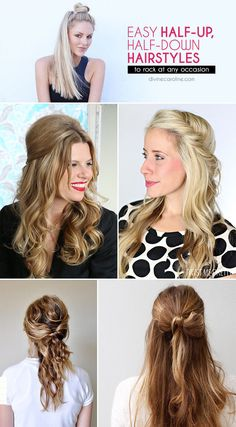 Easy Half-Up, Half-Down Hairstyles to Rock for Any Occasion - More : Half-up hairstyles are an effortless way to amp up your tired everyday hair. Check out a few of our favorite looks for inspiration. Popular Hairstyles, Twist Hairstyles, Headband Hairstyles, Down Hairstyles, Amazing Hairstyles, Wedding Hairstyles, Medium Hair Styles, Long Hair Styles, Spa