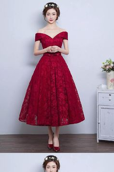 cd100e69e75da8 Lace A-line Vintage Burgundy Tea-Length Off-the-Shoulder Prom Dresses   There s something odd about the shoes legs visible below the hem