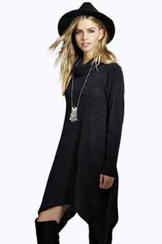 Cassie Roll Neck Hanky Hem Knitted Dress