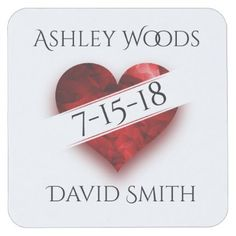 #Heart Diagonal Banner Save The Date Coaster - #WeddingCoasters #Wedding #Coasters Wedding Coasters