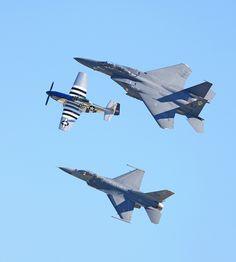 US Air Force Heritage Flight P-51, F-16, F-15