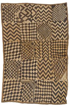 Africa | Raffia cloth from the Shoowa (Kuba) people of DR Congo | 20th century